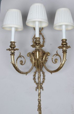 SET OF 6  FRENCH LOUIS XV BRASS SCONCES, LATE 20TH