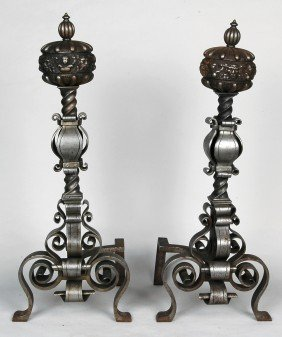 PAIR OF CONTINENTAL WROUGHT STEEL ANDIRONS, 19TH C.