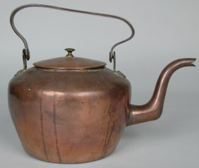 ANTIQUE PENNSYLVANIA COPPER TEA KETTLE