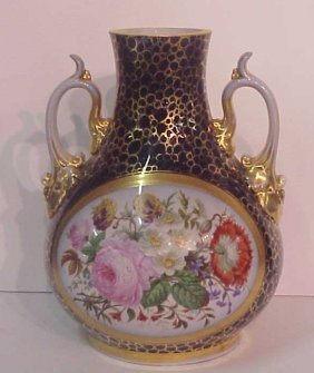 19thc Old Paris Porcelain Cobalt Vase Painted Wit