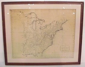 1793 Map Of United States Of America, Treaty Of