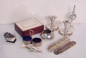 Sterling Silver Box Lot: Pr. Fisher Candlesticks