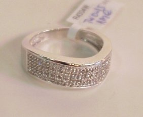 14k White Gold And Diamond Ring, 0.15 Ctw