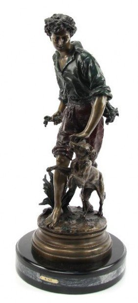 AFTER MOREAU BRONZE & MARBLE-PEASANT BOY & HIS DOG