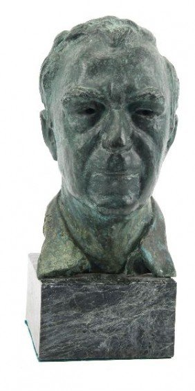 SIGNED SPANISH BRONZE MALE BUST ON MARBLE BASE