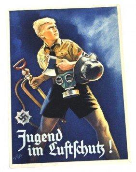WWII GERMAN POSTCARD JUGEND IM LUFTSCHUTZ RARE NM