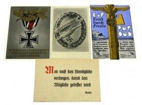 WWII GERMAN & FASCIST PROPAGANDA POSTCARD LOT OF 4