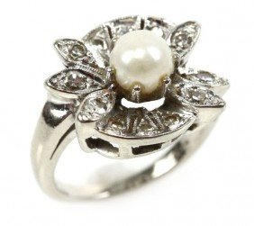 ANTIQUE LADIES 14K WHITE GOLD PEARL & DIAMOND RING