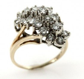 LADIES VINTAGE DIAMOND CLUSTER RING 2.375 CTW