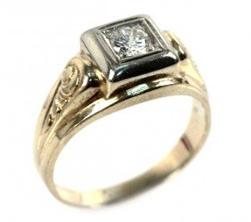 MENS VINTAGE 12K YELLOW GOLD DIAMOND RING 0.5 CTW