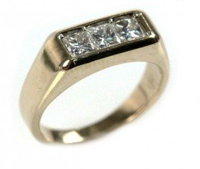 MEN'S 14K GOLD THREE STONE DIAMOND RING 1.14 CTW
