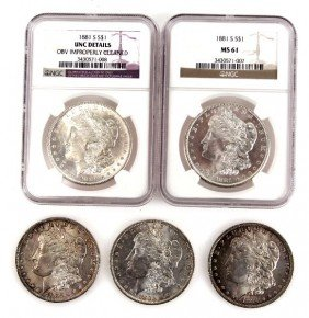 5 MINT STATE NGC & UNC MORGAN SILVER DOLLAR LOT