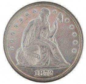 1872 SEATED LIBERTY SILVER DOLLAR XF