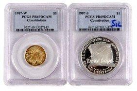 1987 GOLD US CONSTITUTION 2 COIN SET PCGS PR69