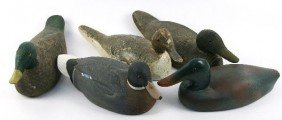 5 ANTIQUE HAND CARVED WOOD DUCK DECOYS