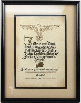 NAMED GERMAN THIRD REICH COMMERATIVE CERTIFICATE