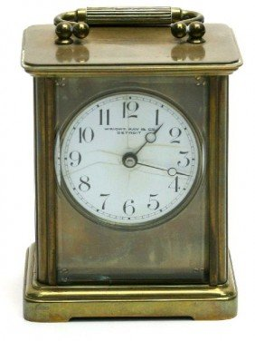 CHELSEA BRASS AND CRYSTAL CASE CARRIAGE CLOCK