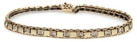 LADIES 14K YELLOW GOLD AND DIAMOND TENNIS BRACELET