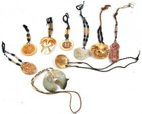 9 NATIVE AMERICAN CARVED SHELL DECORATED PENDANTS
