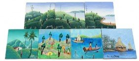 COLLECTION OF 7 HAITIAN PAINTED ARTIST WOOD TILES
