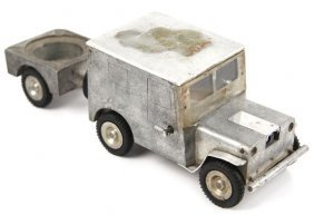 GERMAN ALUMINUM SMOKING SET TRUCK W TRAILER