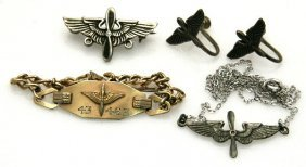 USAF SWEETHEART GROUP STERLING AND GOLD PLATED