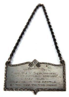 WWII MEMORIAL STERLING BOTTLE HANGER PLAQUE