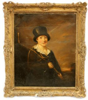 FRAMED PORTRAIT OF A YOUNG BOY & LANDSCAPE