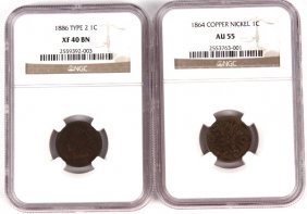 INDIAN CENT LOT 1864 CN AU55 NGC 1886 NGC XF40 BN