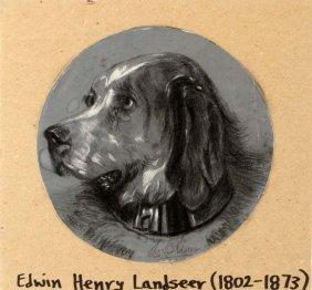 Ewin Landseer Signed Charcoal Study 19th C
