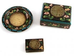 Chinese Brass Cloisonne Set With Jade Inserts
