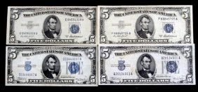 Four $5 Blue Seal Silver Certificate Notes