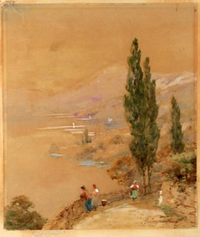 19/20th C Italian School Andrea Vasari Watercolor