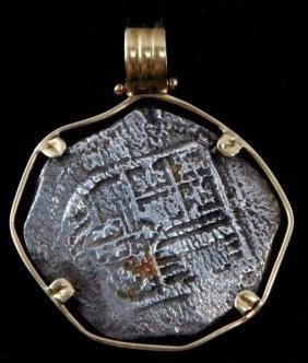 Atocha Silver Coin 14kt Yellow Gold Pendant