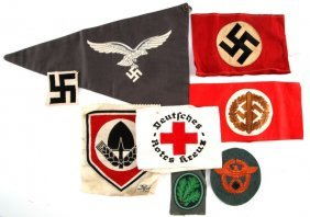 Lot Of Eight Wwii German Cloth Insignia & Pennant