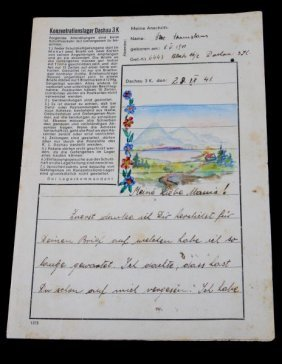 Wwii Hand-written Prisoner Letter From Dachau