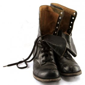 Wwii Us Combat Boots Black Leather Size 9.5