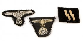 Lot Of Three Wwii German Waffen Ss Cloth Insignia