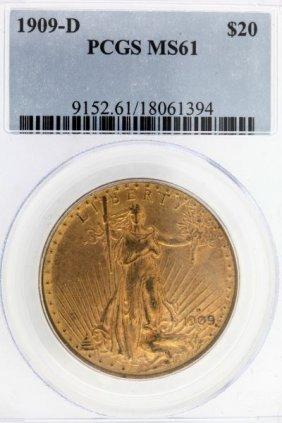 1909 D $20 Double Eagle Key Date St Gaudens