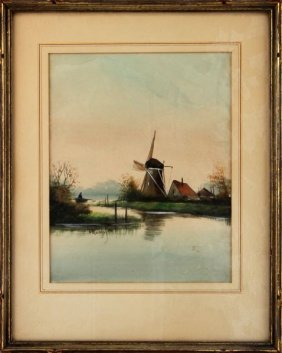 Antique Signed Dutch Windmill Watercolor Painting