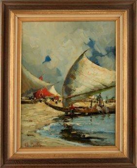 Mid Century Painting Signed M Martin Fishermen