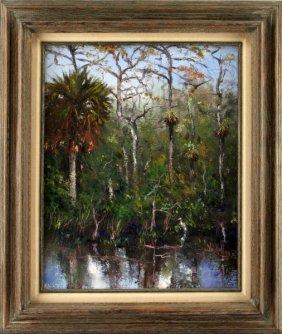 Sam Vinikoff Florida Everglades 1979 Oil Painting