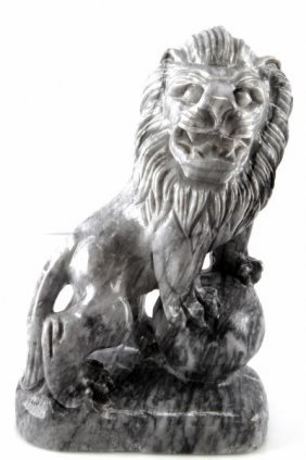 Hand Carved Black And White Marble Lion Vietnam