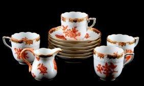 Herend Fortuna Rust Demitasse Cups And Creamer