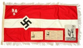 Third Reich Hitler Youth Flag, Book, Document