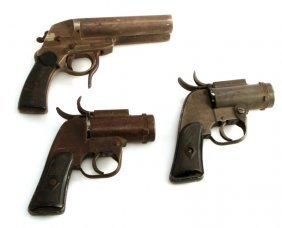 Group Of 3 Wwii Flare Guns Pistols Us Property M8