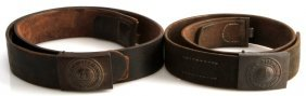 Lot Of Two Wwi Leather Belts With Belt Buckles