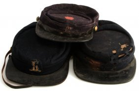 Lot Of Three Antique Us Army Kepi Visor Caps