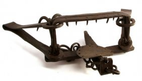 Vintage Cast Iron Bear Trap With Chain Anchor
