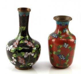 "Lot Of Two Chinese Vinateg Cloisonne Vases 6.5"""